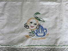 RARE-UNUSUAL-Hand-Stitched-Embroidered-Tablecloth-Anthropomorphic-Lemon-GREAT
