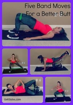 ‪#‎GetGlutes‬ uses bands for booty-building in most of our workouts. Here are five moves you can try today to work those glutes. We recommend doing 3 rounds of 8-15 reps each for a quick booty blast. #glutetraining #buttexercise
