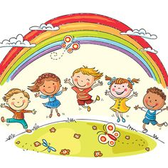 Illustration about Kids jumping with joy on a hill under rainbow, colorful cartoon. Illustration of drawing, illustration, good - 48710213 Cartoon Cartoon, Hello Songs Preschool, Kindergarten Clipart, International Children's Day, Circle Time, Child Day, Creative Sketches, Free Vector Art, Kids Vector