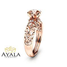 14K Rose Gold Morganite Engagement Ring Peach by AyalaDiamonds