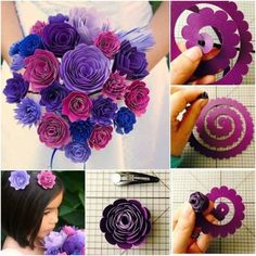 Paper Flower Bouquet and Hair Clip Tutorial