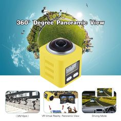 360 Degree Fisheye Panoramic Camera 2448P 30fps Full HD 16MP Sports DV Camcorder