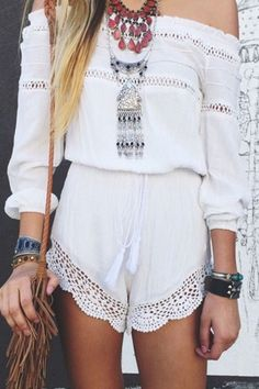 Off-The-Shoulder White Romper