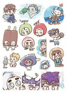 Exo Stickers, Face Stickers, Printable Stickers, Exo Cartoon, Cartoon Drawings, Exo Fan Art, New Sticker, Kpop Fanart, Doodle Art