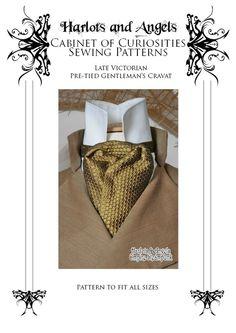 Victorian Steampunk Cravat sewing pattern by Harlotsandangels, pdf sewing pattern. neck tie pattern. digital download