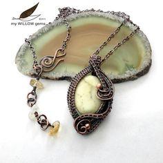 Wire Wrapped Jewelry, Lemon Chrysoprase & Citrine Necklace