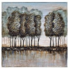 Bring color and nature to the walls of your home or office with this Wood and Metal Tree Oil Painting Frameless Wall Art. The beautiful landscape image of colorful trees is hand-painted on wood.