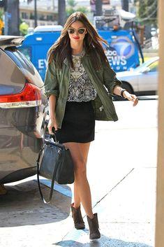 utilitarian look with miniskirt