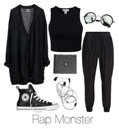 """""""Rap Monster Inspired w/ Converse"""" by btsoutfits ❤ liked on Polyvore featuring MTWTFSS Weekday, BCBGeneration, Estradeur and Converse"""