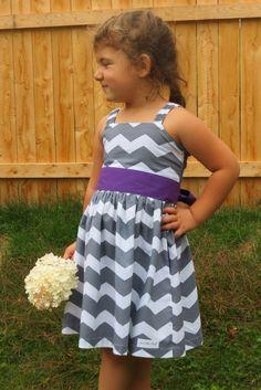 Gray shevron Flower girl dress.