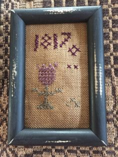 Primitive Early Style Sampler Vintage Inspired Framed Mini 1817 Floral Motif #NaivePrimitive #Stitcher