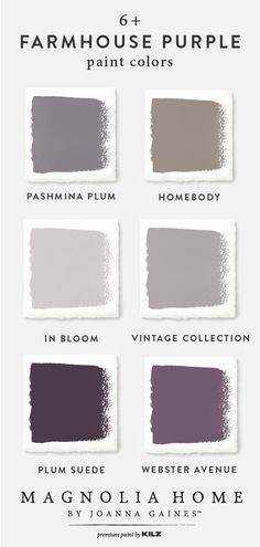 Add a splash of color to your rustic-chic interior design style with this farmhouse purple color palette from the Magnolia Home by Joanna Gaines™ Paint collection. Timeless shades like Pashmina Plum, Homebody, In Bloom, Vintage Collection, Plum Suede, and Webster Avenue are an easy way to update your home.
