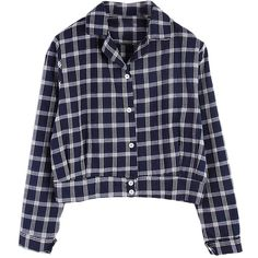 Choies Navy Plaid Cropped Shirt (455 EGP) ❤ liked on Polyvore featuring tops, shirts, flannel, blouses, multi, blue flannel shirts, blue crop top, navy plaid shirt, plaid crop top and navy blue top