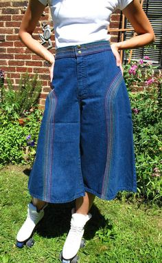 rainbow embroidered denim culottes