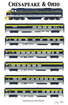 7 hand drawn Chesapeake & Ohio passenger train (1 engine and 6 cars) drawings by Andy Fletcher