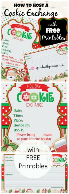 How to Host a Cookie Exchange!  With tips and FREE printables! Christmas Cookie Exchange, Christmas Baking, Christmas Parties, Cookie Exchange Party, Christmas Goodies, Christmas Printables, Christmas Holidays, Christmas Stuff, Gift Exchange
