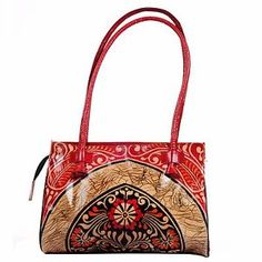 Batik-Real-Leather-India-Handmade-Shantiniketan-Red-Bag-Purse-Handbag-Tote-Bag