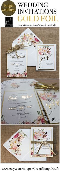 GOLD FOIL WEDDING INVITATIONS Rustic Wedding Invitation Suite Blush pink watercolor floral invite Bohemian Invite Set Floral Kraft liner Boho Chic GOLD foil invites romantic floral invitations trending fall wedding #weddinginvitation
