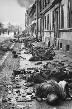 Bodies of German soldier`s - killed during brutal hand-to-hand fighting - with troop`s of the Soviet 1st Ukrainian Front . Breslau 1945
