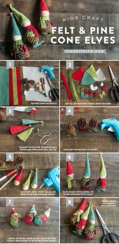 Kid�s Craft: Felt and Pine Cone Elves