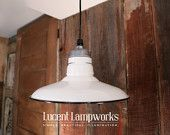 Industrial Pendant Light with White Vintage Enamel Shade