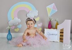 {Smash the Cake} - Giovanna Sunshine Birthday, Baby 1st Birthday, First Birthday Parties, Birthday Party Themes, First Birthdays, Cloud Party, Butterfly Baby, Foto Baby, Rainbow Theme
