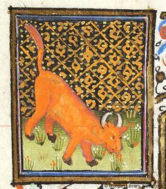 Medieval Manuscript Images, Pierpont Morgan Library, Book of hours (MS MS fol. Medieval Manuscript, Medieval Art, Illuminated Manuscript, Taurus Art, Zodiac Signs Taurus, Taurus Bull, Renaissance, Old Best Friends, High Middle Ages
