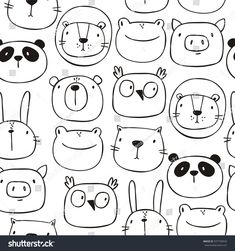 Find Cute Print Cat Lion Bear Pig stock images in HD and millions of other royalty-free stock photos, illustrations and vectors in the Shutterstock collection. Thousands of new, high-quality pictures added every day. Doodle Drawings, Easy Drawings, Animal Drawings, Doodle Art, Owl Doodle, Tier Doodles, Sketch Note, Baby Panda Bears, Poster Print
