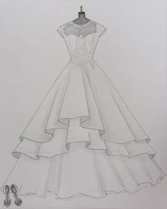 Custom wedding dress sketch wedding dress hand drawing say yes to the dress bride shoes wedding date paper gift one year anniversary - Dress Design Drawing, Dress Design Sketches, Fashion Design Sketchbook, Fashion Illustration Sketches, Fashion Design Drawings, Drawing Sketches, Drawing Ideas, Shoe Drawing, Wedding Dress Drawings