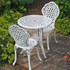 Lazy Susan Furniture - Ivy Bistro Set - Bistro Table with 2 matching Chairs - Cast aluminium garden set, White: Amazon.co.uk: Kitchen & Home