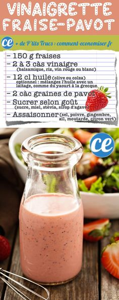 Easy Strawberry Poppy Seed Salad Dressing Recipe (healthy and easy!) Goes great with spinach strawberries candied pecans red onion and bacon! Sauce Recipes, Cooking Recipes, Healthy Recipes, Avocado Recipes, Cooking Tips, Salad Dressing Recipes, Clean Salad Dressings, Homemade Sauce, Easy Salads