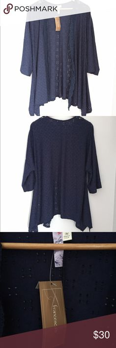 NWT Francesca's Navy Eyelet Cardigan Brand new with tags- never worn! In perfect condition, with a torn tag. The brand is Alya from Francesca's Boutique. Navy is color with cute eyelet patten. Material is flowy with some stretch. Size medium, however could fit a variety of size depending upon how fitted or loose you'd prefer it to be! Sleeves are bell style and loose as well. I'm happy to answer any questions you may have and provide additional pics or measurements upon request! Francesca's…