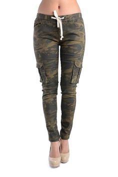 Women's Solid Skinny Cargo Jogger Pants RJH380 - S10E