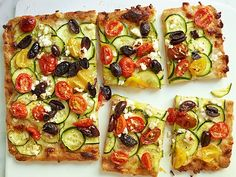Whole-Wheat Cherry Tomato and Zucchini Pan Pizza Recipe : Food Network Kitchens : Food Network - FoodNetwork.com