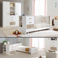 Popular Babyzimmer u Kinderzimmer Modern Style weiss mit Babybett komplett umbaubar zum Jugendbett Geschmockvolles Kinderzimmer aus Buchenholz