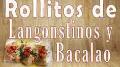 ROLLITOS DE LANGOSTINOS Y BACALAO. SPRING ROLLS. RICE PAPER ROLLS