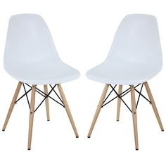 White Mid-centry Pyramid Base Dining Chairs (Set of 2)