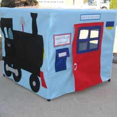 All Aboard Train Station Card Table Playhouse by missprettypretty