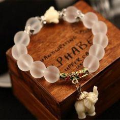 Fashion Matting Natural Crystal Bracelets Stretch Elephant Buddha Bracelet for Women Bring Good Luck and Wealth Birthday Gift