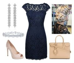 """""""Navy Lace"""" by hannah-vangiller on Polyvore featuring Fendi, Yves Saint Laurent, Bochic and Harry Winston"""