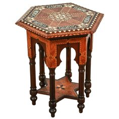Antique Alhambra Spanish wood side table.
