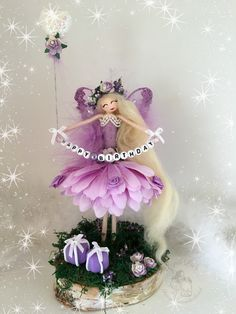 Birthday Fairy.... Clothespin Crafts, Clothespin Dolls, Fairy Homes, Fairy Dress, Fairy Princesses, Tiny Dolls, 6th Birthday Parties, Flower Fairies, Cute Crafts