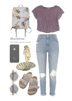 """""""Art Hoe"""" by sierrabrett44 ❤ liked on Polyvore featuring American Eagle Outfitters, Birkenstock, Incase and Illesteva"""