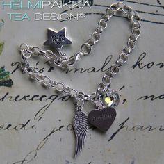 Amulettirannekoru enkelinsiivellä, Darling tekstisydänamuletilla ja kirkkaalla Swarovskin kristallilla <3