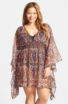 I'd wear this over leggings!  Plus Size Tunic - Plus Size Jessica Simpson 'Folkloric' Flutter Cover-Up (Plus Size) #wishlist
