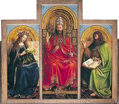 Genti oltár - az alakok balról jobbra haladva: Szűz Mária; az Atyaisten; Keresztelő Szent János