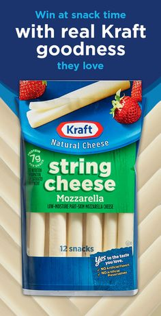 Kraft Mozzarella String Cheese brings the creaminess of cheese and the realness of milk together for an after school snack you don't have to think twice about. Paleo Recipes, Cooking Recipes, Healthy Snacks, Healthy Eating, Good Food, Yummy Food, Healthy Living Tips, String Cheese, Street Food