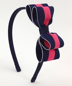 Another great find on #zulily! Pink & Navy Bow Headband by Fairy Bow Mother #zulilyfinds