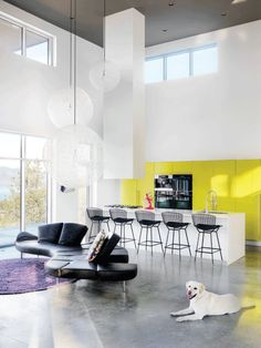 Be bold with colour! For a spacious and bright gallery-like setting, start with a neutral colour scheme—like the smart white cabinetry and grey concrete floors seen here—and have fun with a contrasting colour to enliven the room. #westernliving