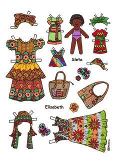 Karen`s Paper Dolls: Elisabeth 1-4 Paper Doll to Print in Colours. Elisabeth 1-4 påklædningsdukke til at printe i farver.